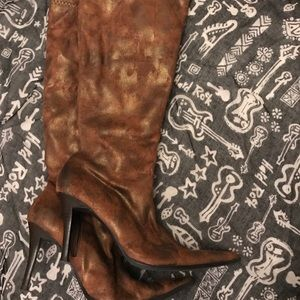 Apt. 9 bronze fabric stiletto boots-size 8M